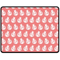 Coral And White Lady Bug Pattern Fleece Blanket (Medium)