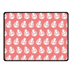 Coral And White Lady Bug Pattern Fleece Blanket (Small)