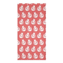 Coral And White Lady Bug Pattern Shower Curtain 36  X 72  (stall)