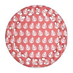 Coral And White Lady Bug Pattern Round Filigree Ornament (2Side)