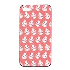 Coral And White Lady Bug Pattern Apple iPhone 4/4s Seamless Case (Black)