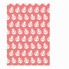 Coral And White Lady Bug Pattern Small Garden Flag (two Sides)