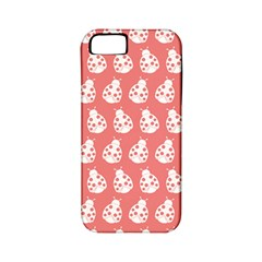 Coral And White Lady Bug Pattern Apple Iphone 5 Classic Hardshell Case (pc+silicone)