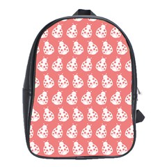 Coral And White Lady Bug Pattern School Bags (xl)