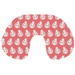 Coral And White Lady Bug Pattern Travel Neck Pillows
