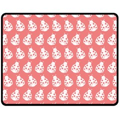 Coral And White Lady Bug Pattern Double Sided Fleece Blanket (medium)