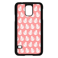 Coral And White Lady Bug Pattern Samsung Galaxy S5 Case (black)