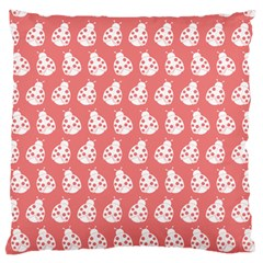 Coral And White Lady Bug Pattern Large Flano Cushion Cases (two Sides)