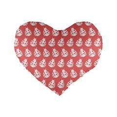 Coral And White Lady Bug Pattern Standard 16  Premium Flano Heart Shape Cushions