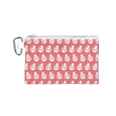 Coral And White Lady Bug Pattern Canvas Cosmetic Bag (S)