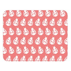 Coral And White Lady Bug Pattern Double Sided Flano Blanket (large)
