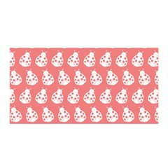 Coral And White Lady Bug Pattern Satin Wrap