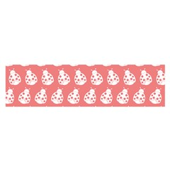 Coral And White Lady Bug Pattern Satin Scarf (oblong)