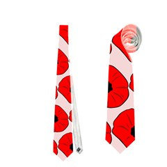 Red Peony Flower Pattern Neckties (One Side)
