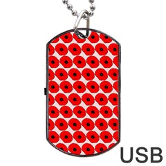 Red Peony Flower Pattern Dog Tag USB Flash (One Side)