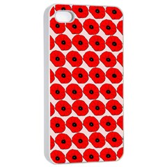 Red Peony Flower Pattern Apple iPhone 4/4s Seamless Case (White)