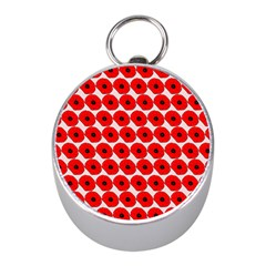 Red Peony Flower Pattern Mini Silver Compasses