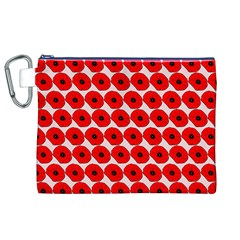Red Peony Flower Pattern Canvas Cosmetic Bag (XL)