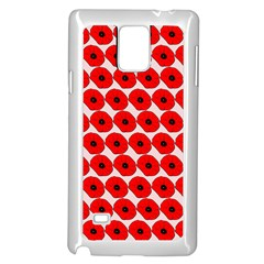 Red Peony Flower Pattern Samsung Galaxy Note 4 Case (White)