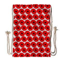 Red Peony Flower Pattern Drawstring Bag (Large)