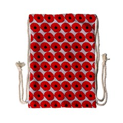 Red Peony Flower Pattern Drawstring Bag (Small)