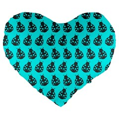 Ladybug Vector Geometric Tile Pattern Large 19  Premium Flano Heart Shape Cushions