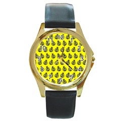 Ladybug Vector Geometric Tile Pattern Round Gold Metal Watches
