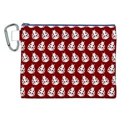 Ladybug Vector Geometric Tile Pattern Canvas Cosmetic Bag (XXL)