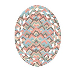 Trendy Chic Modern Chevron Pattern Ornament (oval Filigree)