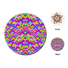 Colorful Trendy Chic Modern Chevron Pattern Playing Cards (Round)