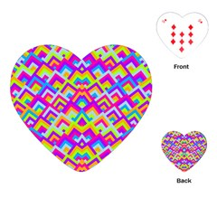 Colorful Trendy Chic Modern Chevron Pattern Playing Cards (Heart)