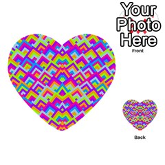 Colorful Trendy Chic Modern Chevron Pattern Multi Purpose Cards (heart)