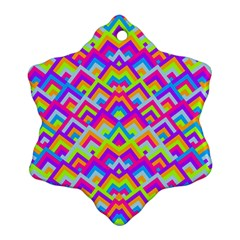 Colorful Trendy Chic Modern Chevron Pattern Ornament (Snowflake)