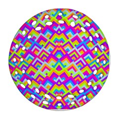 Colorful Trendy Chic Modern Chevron Pattern Round Filigree Ornament (2Side)