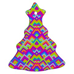 Colorful Trendy Chic Modern Chevron Pattern Christmas Tree Ornament (2 Sides)