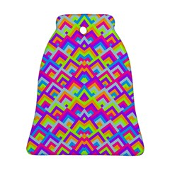 Colorful Trendy Chic Modern Chevron Pattern Bell Ornament (2 Sides)