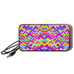 Colorful Trendy Chic Modern Chevron Pattern Portable Speaker (Black)