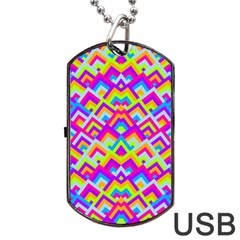 Colorful Trendy Chic Modern Chevron Pattern Dog Tag USB Flash (One Side)