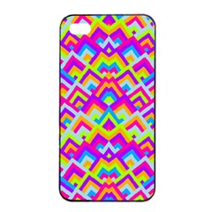 Colorful Trendy Chic Modern Chevron Pattern Apple iPhone 4/4s Seamless Case (Black)