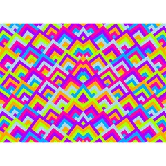 Colorful Trendy Chic Modern Chevron Pattern Birthday Cake 3D Greeting Card (7x5)