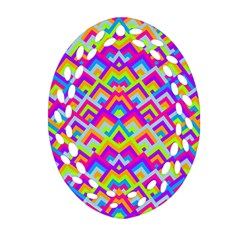 Colorful Trendy Chic Modern Chevron Pattern Oval Filigree Ornament (2-Side)