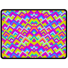 Colorful Trendy Chic Modern Chevron Pattern Double Sided Fleece Blanket (large)