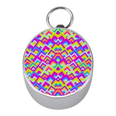 Colorful Trendy Chic Modern Chevron Pattern Mini Silver Compasses