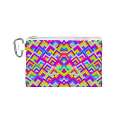 Colorful Trendy Chic Modern Chevron Pattern Canvas Cosmetic Bag (S)