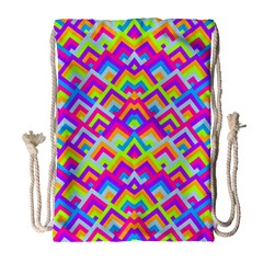Colorful Trendy Chic Modern Chevron Pattern Drawstring Bag (Large)