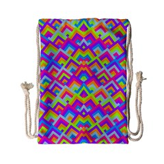 Colorful Trendy Chic Modern Chevron Pattern Drawstring Bag (Small)