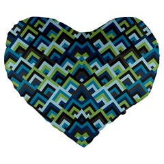 Trendy Chic Modern Chevron Pattern Large 19  Premium Flano Heart Shape Cushions