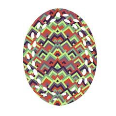 Trendy Chic Modern Chevron Pattern Ornament (Oval Filigree)