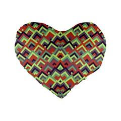 Trendy Chic Modern Chevron Pattern Standard 16  Premium Flano Heart Shape Cushions