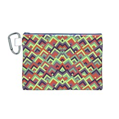 Trendy Chic Modern Chevron Pattern Canvas Cosmetic Bag (m)